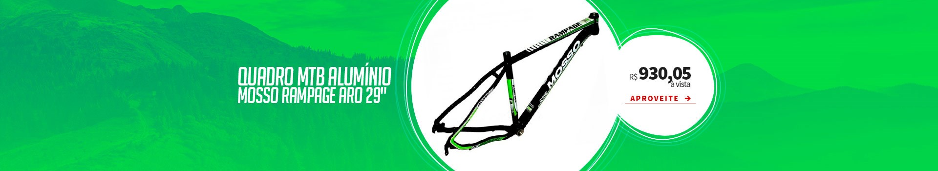 "Quadro de Bike MTB Alumínio Mosso Rampage aro 29"""