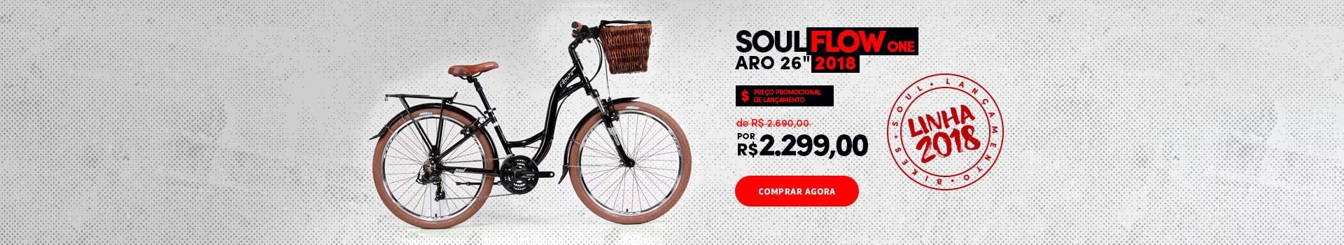 """Promoção de lançamento Bike Soul Flow One 26"""" 2018"""