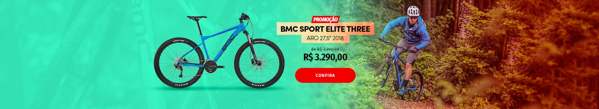 """BMC Sport Elite Three Aro 27,5"""" 2018 em promoção"""