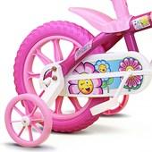 Bicicleta Infantil Aro 12 Nathor Flower com Cestinha Rosa