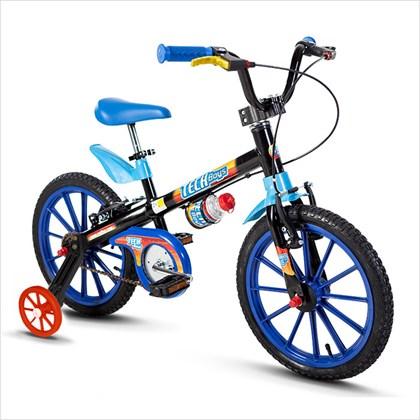 Bicicleta Infantil Aro 16 Nathor Tech Boys Preta e Azul