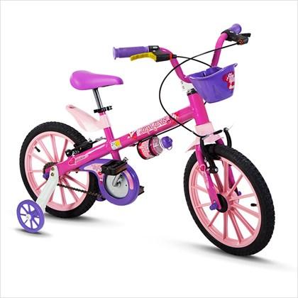 Bicicleta Infantil Aro 16 Nathor Top Girls com Cestinha Rosa