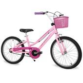 Bicicleta Infantil Aro 20 Nathor Bella com Cestinha Rosa e Branca