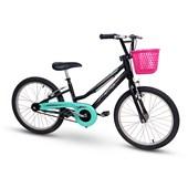 Bicicleta Infantil Aro 20 Nathor Grace com Cestinha Preta e Verde