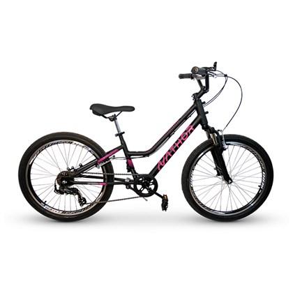 Bicicleta Infantil Aro 24 Nathor Bella Preta e Rosa