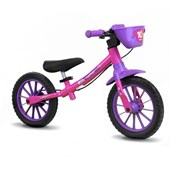 Bicicleta Infantil Equilíbrio Aro 12 Nathor Balance Rosa e Roxa