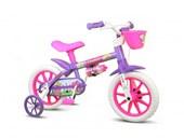 Bike Infantil Aro 12 Nathor Violet com Cestinha Violeta e Lilas