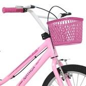 Bike Infantil Aro 20 Nathor Bella com Cestinha Rosa e Branca