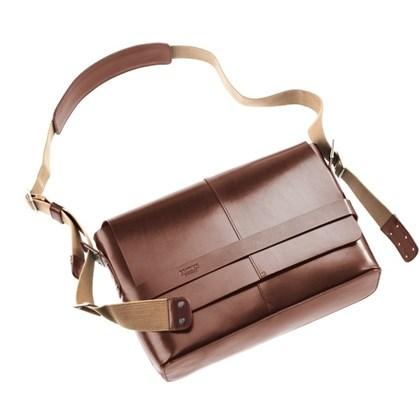 Bolsa Brooks Messenger Barbican EM Couro Marron - Barbican Medium Leather Brown