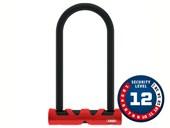 Cadeado para Bike Abus U-Lock Ultimate 420 Nível 12 Vermelho e Preto + Mais Cabo de Aço Revestido