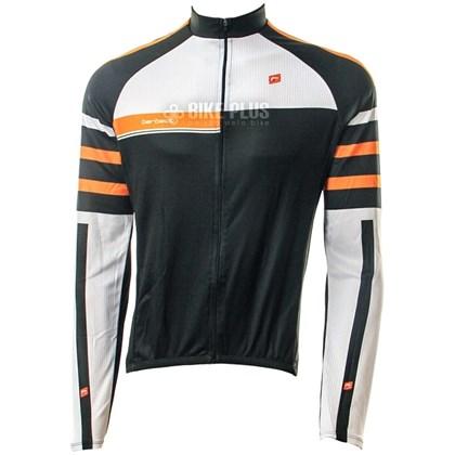 Camisa Ciclismo Barbedo Stripes Manga Longa Preta e Laranja - Bike Plus 8fec462c8e85a