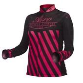 Camisa Ciclismo Feminina ASW Active Legacy Manga Longa Preta Pink