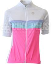 Camisa Ciclismo Feminina Barbedo Aero Branca e Rosa