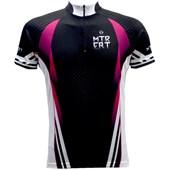 Camisa Ciclismo Feminina ERT MTB Preta Branca e Rosa