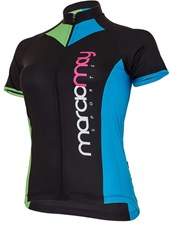 Camisa Ciclismo Feminina Light Marcio May Arrow Preta Azul e Verde