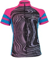 Camisa Ciclismo Feminina Light Marcio May Marbled Preta Rosa e Azul
