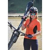 Camisa Ciclismo Feminina Marcio May Ellegance Laranja e Preto