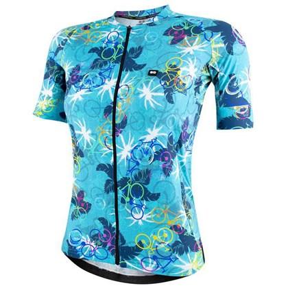 Camisa Ciclismo Feminina Marcio May Funny Premium Leaves And Bikes