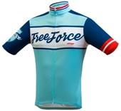 Camisa Ciclismo Free Force Old School Azul Turquesa