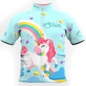 Camisa Ciclismo Infantil Feminina Skin Sport Unicorn Azul Branca e Rosa