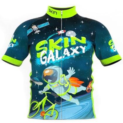 Camisa Ciclismo Infantil Skin Sport Galaxy Azul e Verde