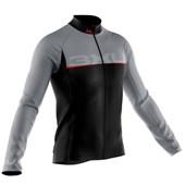 Camisa Ciclismo Manga Longa Refactor Titanium Preta Cinza e Vermelha