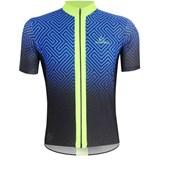 Camisa Ciclismo Mauro Ribeiro Maze Azul e Verde Flúor