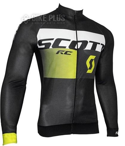Camisa Ciclismo Scott RC Pro 2016 Manga Longa Preta Amarela