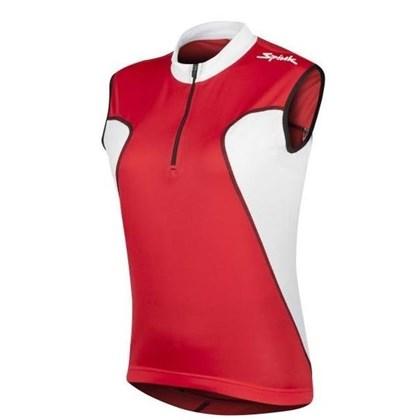 Camisa Ciclismo Spiuk Anatomic Sem Mangas Vermelha Branca