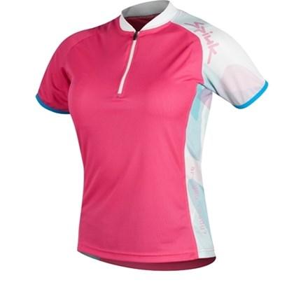 Camisa Ciclismo Spiuk Race Feminina Rosa Branca