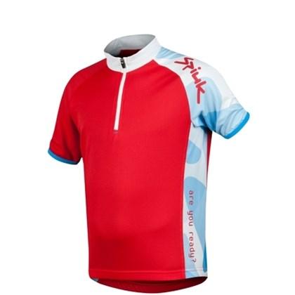 Camisa Ciclismo Spiuk Race Infantil Vermelha Branca