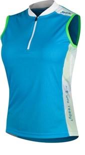 Camisa Ciclismo Spiuk Race Sem Mangas Feminina Azul Branca