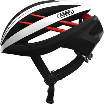 Capacete Bike Abus Aventor Branco Preto e Vermelho