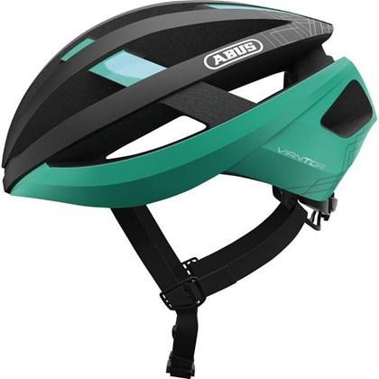 Capacete Bike Abus Viantor Preto e Verde Celeste