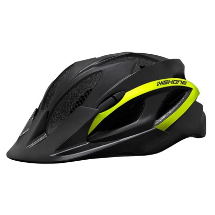 Capacete Bike High One Win Preto e Amarelo Neon