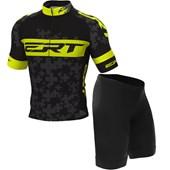 35f76ca2f Conjunto Camisa e Bermuda Ciclismo Infantil ERT Team Preto e Neon ...