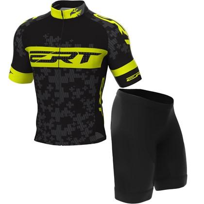 Conjunto Camisa e Bermuda Ciclismo Infantil ERT Team Preto e Neon