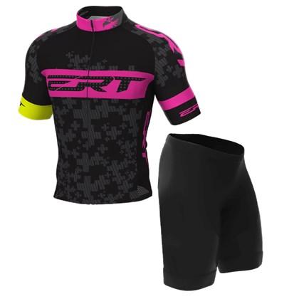 010fa1adb Conjunto Camisa e Bermuda Ciclismo Infantil ERT Team Preto e Rosa ...