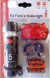 Kit Farol e Lanterna Bike High One Plast 5 Leds