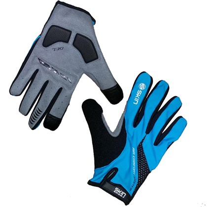 Luva Bike Skin Sports SS Air Gel Dedo Longo Azul