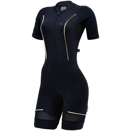 Macaquinho Ciclismo Feminino Marcio May Elite Preto e Dourado