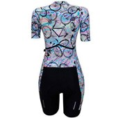 Macaquinho Ciclismo Feminino Marcio May Slim Fit Bike Rainbow