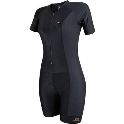 Macaquinho Ciclismo Feminino Marcio May Ultra Black Carbon e Dourado