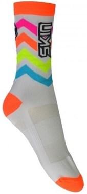 Meia Ciclismo Cano Alto Skin Sport Branca Laranja e Azul