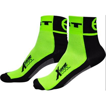 Meia Ciclismo ERT Preta e Verde Fluor