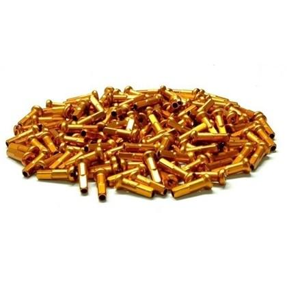 Niples 2.0 x 16mm em Alumínio Dourado