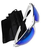Óculos Ciclismo Branco com Lente Azul Espelhada e Transparente