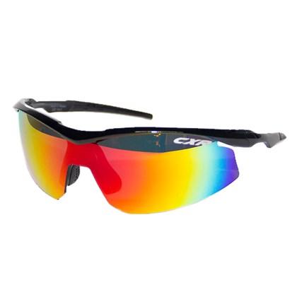 Óculos Ciclismo CXR 6039 Preto Lentes Espelhada Transparente e Amarela
