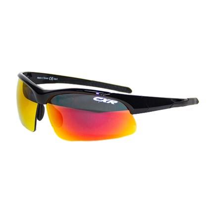 Óculos Ciclismo CXR 6089 Preto Lentes Espelhada Transparente e Amarela