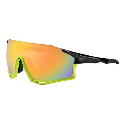Óculos Ciclismo High One Mark Preto e Neon com Lentes Espelhada Fume e Transparente